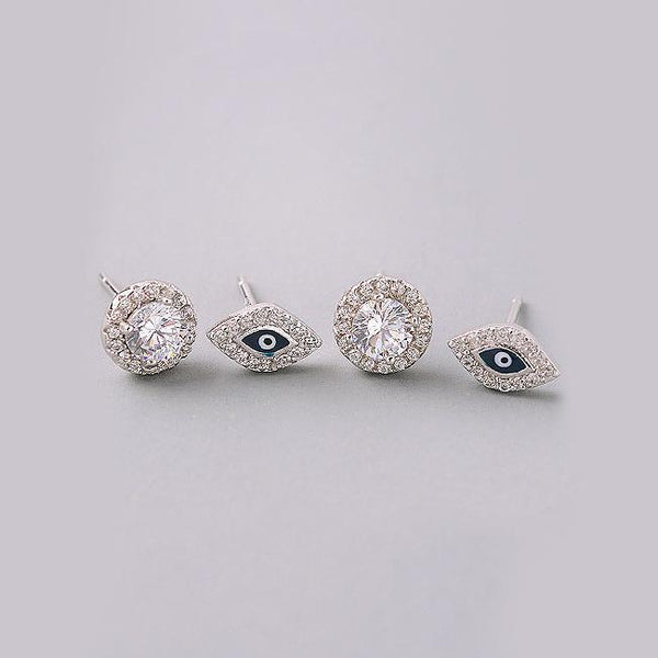 Eternal Sparkles Evil Eye Stud Earrings