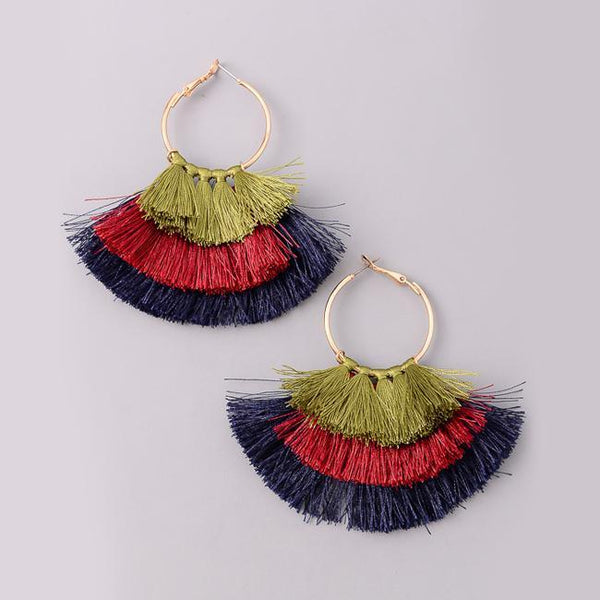 Eternal Sparkles Fan Tassel Dangle Earrings