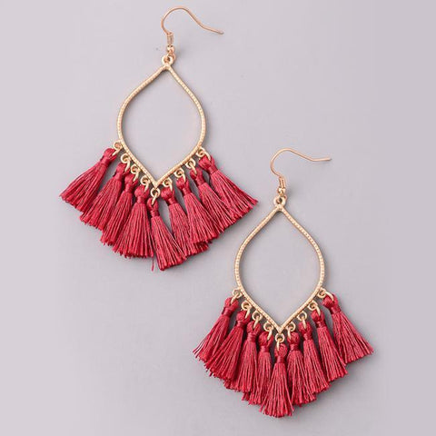 Festive Mini Tassel Earrings in Red from Eternal Sparkles