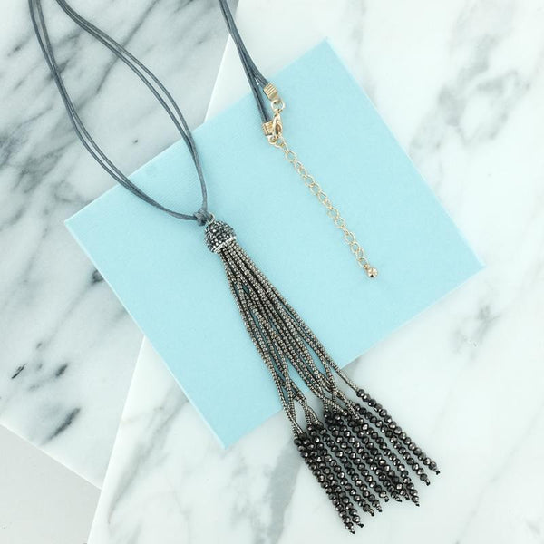 Glass Beaded Tassel Pendant Statement Necklace