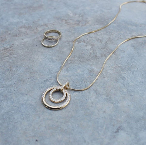 Eternal Sparkles Gold Swarovski Crystal Double Loop Pendant Necklace