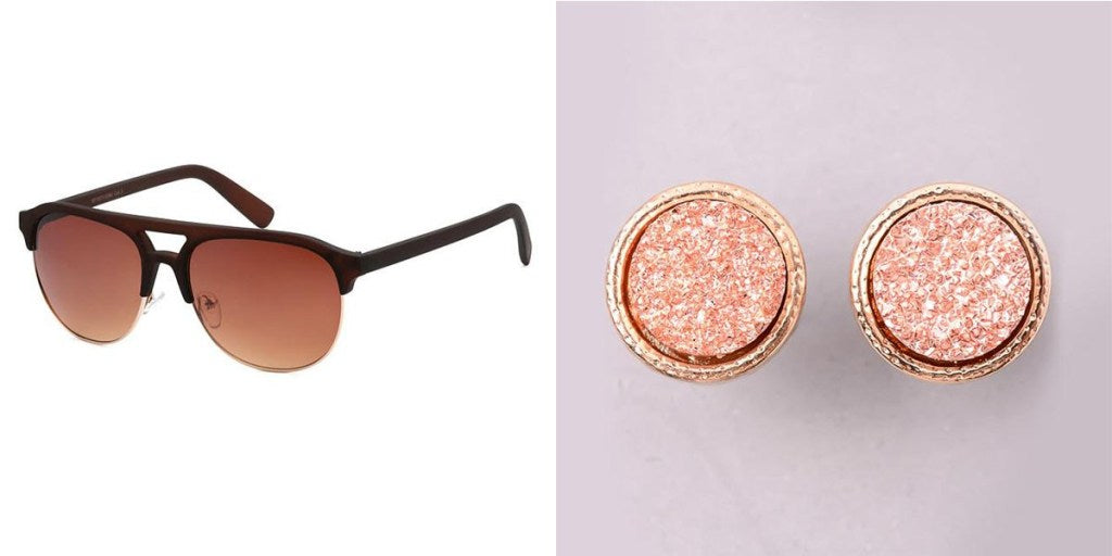 Eternal Sparkles Jessica Sunglasses and Dainty Druzy Stud Earrings in Rose Gold