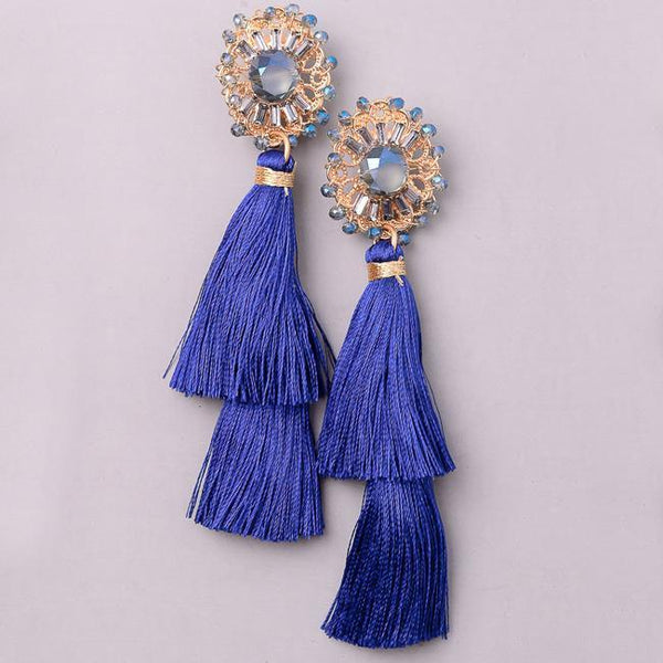Eternal Sparkles Jewel Floral Tassel Dangle Earrings in Blue