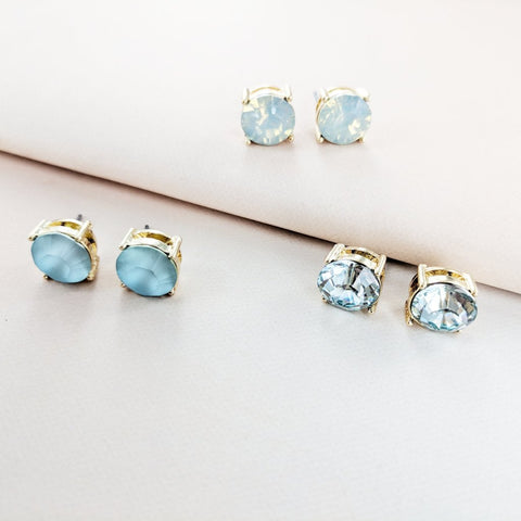 Eternal Sparkles Jewel Stud Earring Set in Blue
