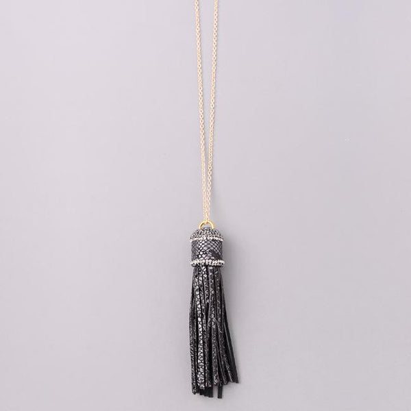 Eternal Sparkles Jewel Wrapped Tassel Necklace