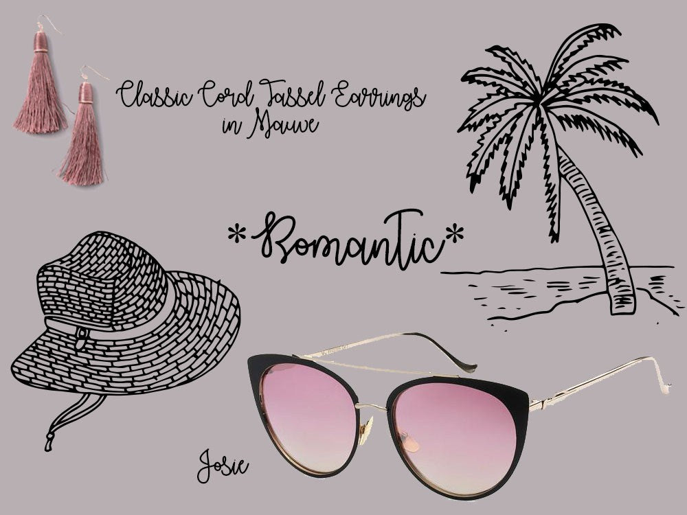 Eternal Sparkles Jose in Gold Frame and Pink Lenses and Classic Cord Tassel Earrings in Mauve