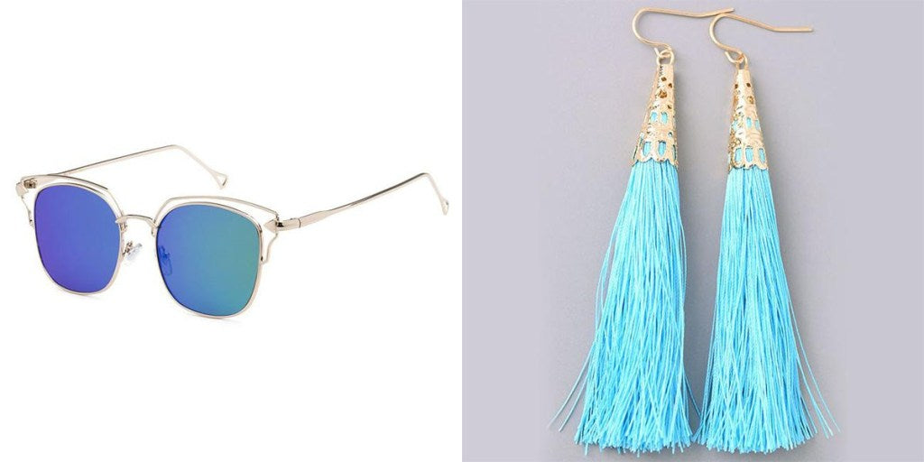 Eternal Sparkles Miranda Sunglasses and Embellished Tassel Earrings