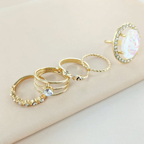 Eternal Sparkles Opal and Jewels Stone Ring Set