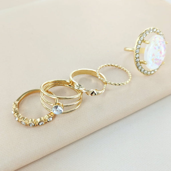 Eterna Sparkles Opal and Jewels Stone Ring Set