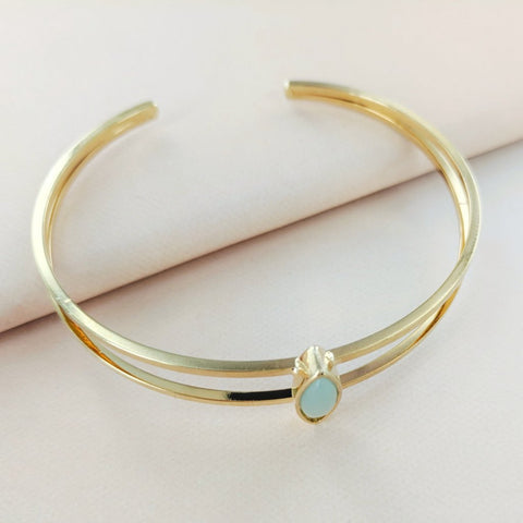 Oval Mint Stone Double Cuff from Eternal Sparkles