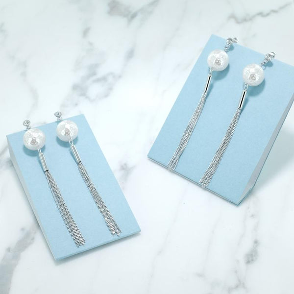Eternal Sparkles Pearl BonBon Long Silver Tassel Statement Earrings