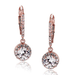 Rose Gold Plated CZ Drop Earrings from Eternal Sparkles
