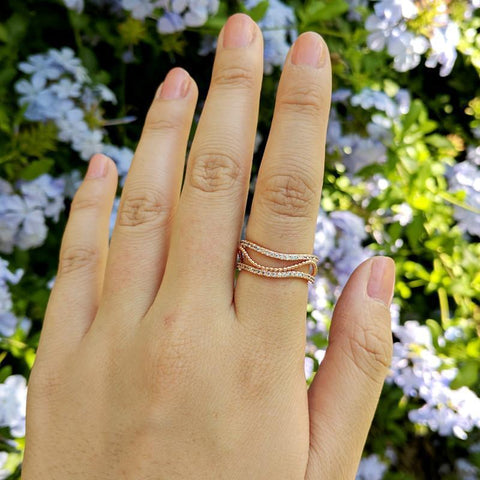 Eternal Sparkles Rose Gold Cuff Ring