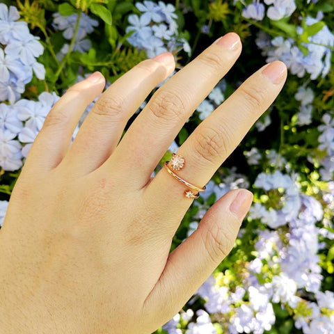 Rose Gold Dual Cluster Ring from Eternal Sparkles