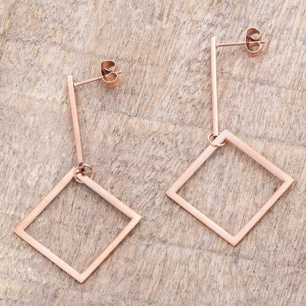 Eternal Sparkles Rose Gold Geometric Drop Earrings