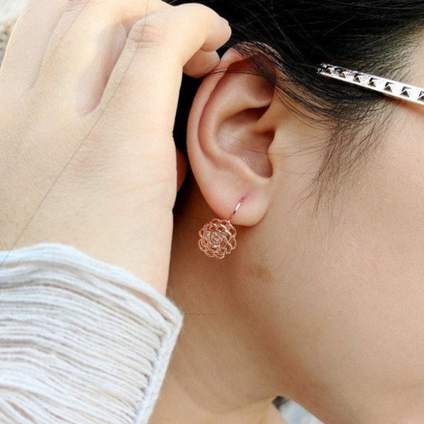 Rose Gold Rose Earrings from Eternal Sparkles