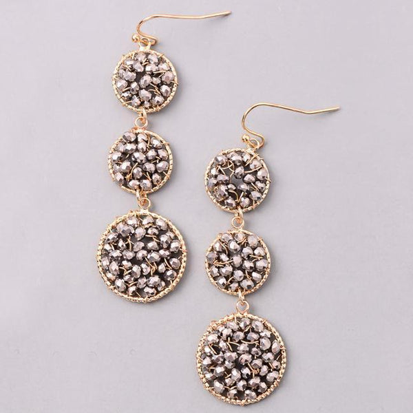 Eternal Sparkles Sparkly Crystal Beaded Earrings in Smoke