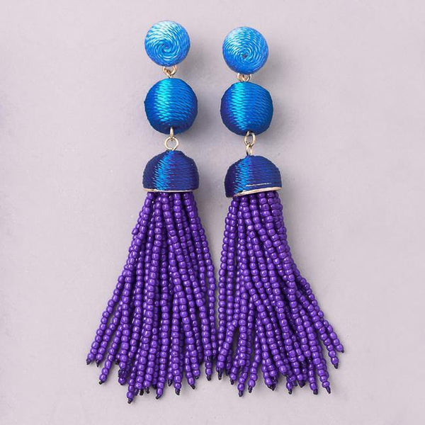 Eternal Sparkles Threaded Bon Bon Beaded Tassel Earrings