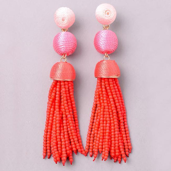 Eternal Sparkles Threaded BonBon Beaded Tassel Earrings in Red