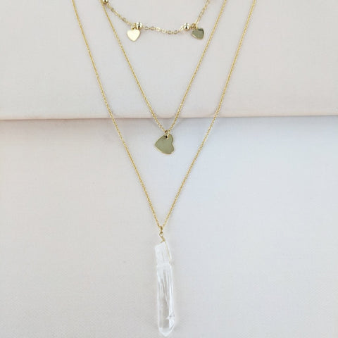 Eternal Sparkles Triple Strand Multi Heart and Crystal Necklace