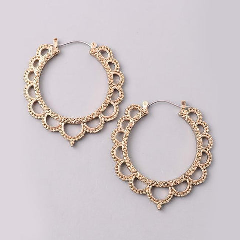 Eternal Sparkles Victorian Cutout Hoop Earrings in Antique Gold