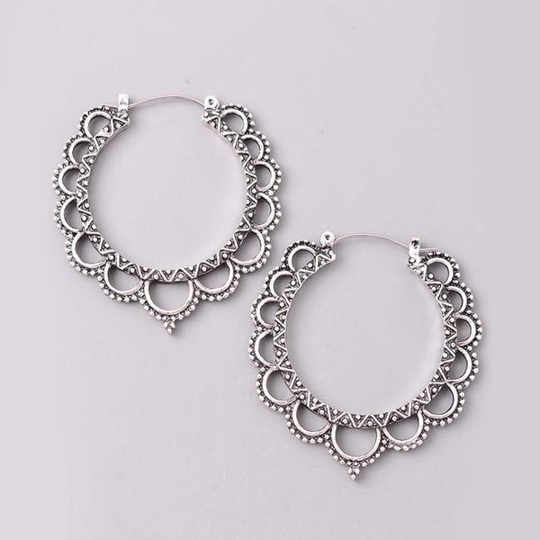 Eternal Sparkles Victorian Cutout Hoop Earrings in Antique Silver