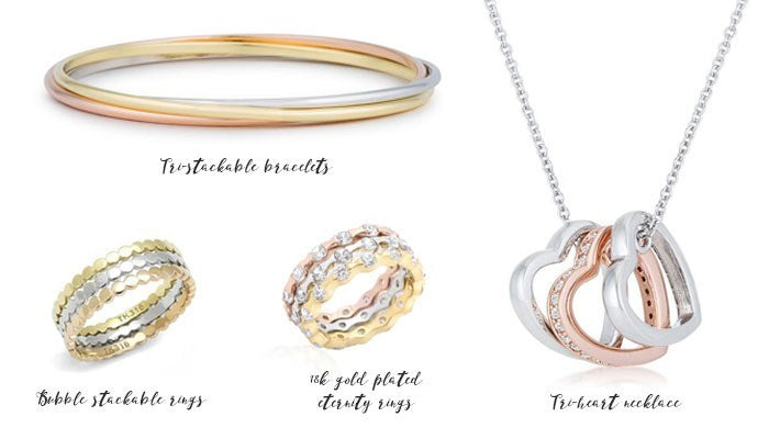 Eternal Sparkles tri-colored fashion jewelry