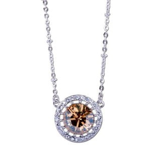 Eternal Sparkles Champagne Solitaire Swarovski Elements Pendant Necklace
