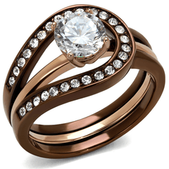 Eternal Sparkles Rose Gold and Chocolate CZ Wedding Ring Set