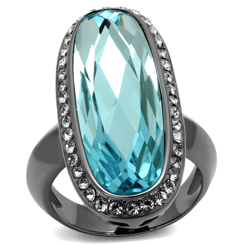 Long Oval Sea Blue Light Black Stainless Steel Cocktail Ring from Eternal Sparkles