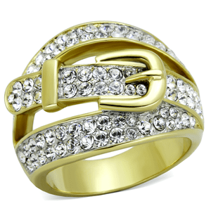 Pave Yellow Gold Twist Belt Ring