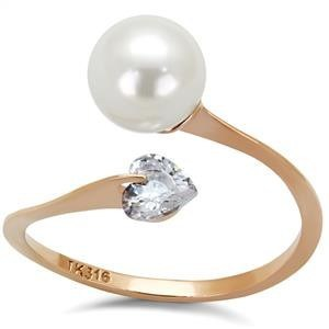 Rose Gold White Pearl Ring from Eternal Sparkles