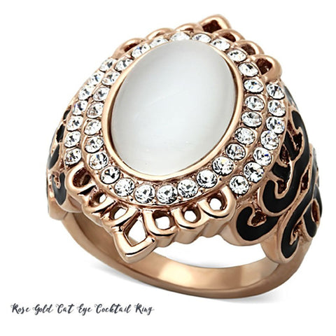 Rose Gold Cat-Eye Cocktail Ring from Eternal Sparkles