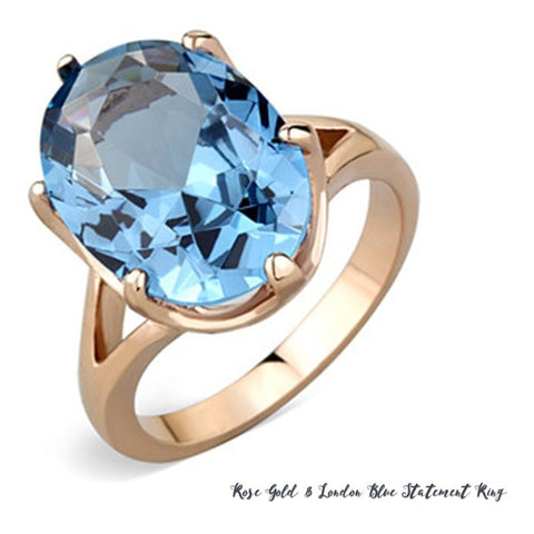 Rose Gold London Blue Statement Ring from Eternal Sparkles