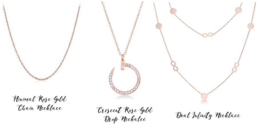 Rose gold necklaces from Eternal Sparkles