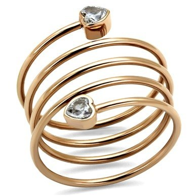 Rose Gold Spiral Wrap Crystal Heart Ring from Eternal Sparkles
