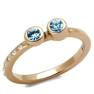 Rose Gold Stainless Steel Sea Blue Dainty Ring from Eternal Sparkles