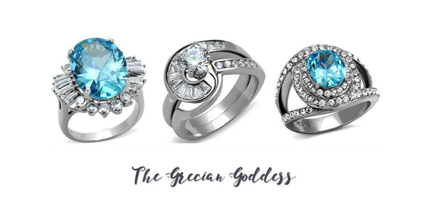 Grecian goddess-inspired fashion rings from Eternal Sparkles