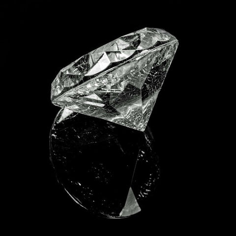 macro shot of a diamond against a black background