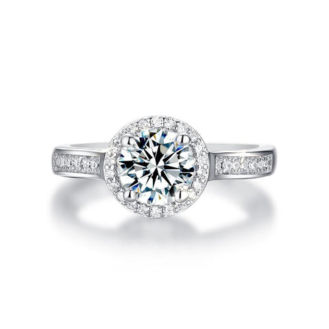 Florence Round Moissanite Halo Ring in 925 Sterling Silver