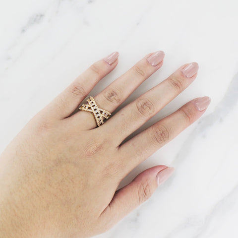 Gold Criss Cross Wrap Ring