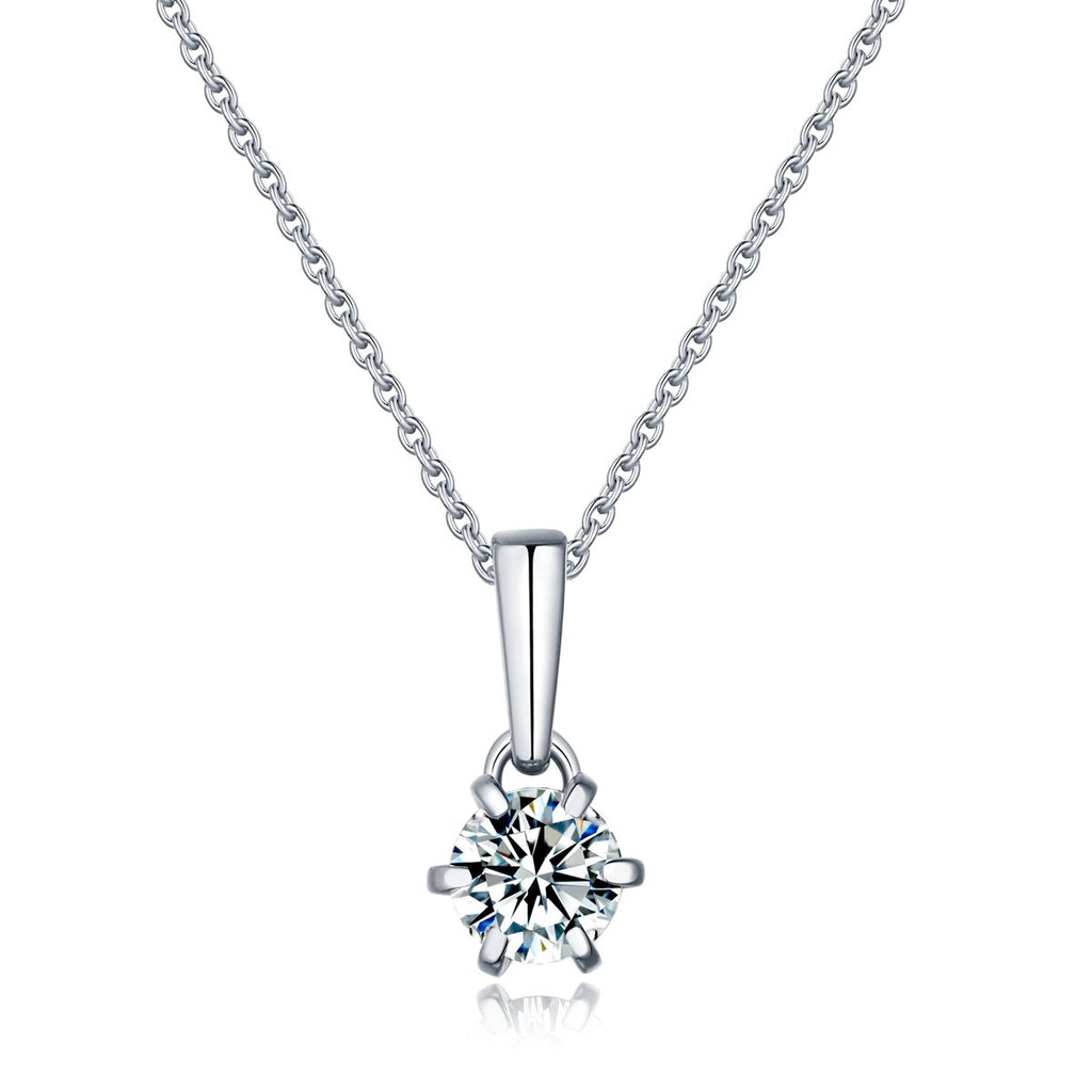 Rhea 6 Prong Moissanite Necklace in 925 Sterling Silver