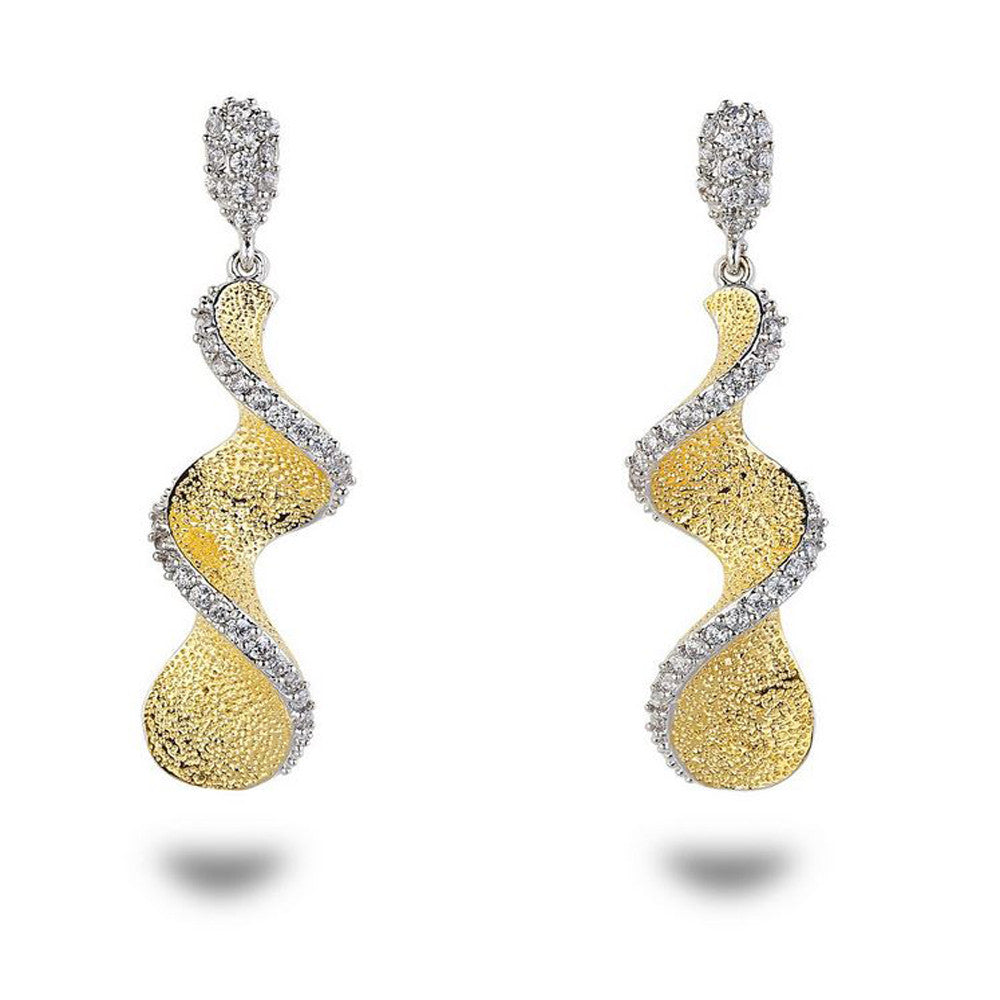 Gold Spiral CZ & Gold Formal Earrings