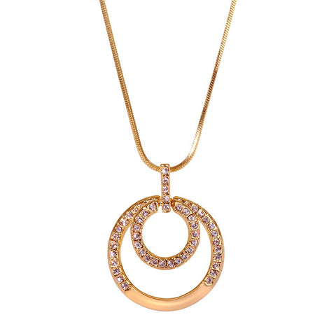 Gold Accented Swarovski Beaded Pendant Necklace