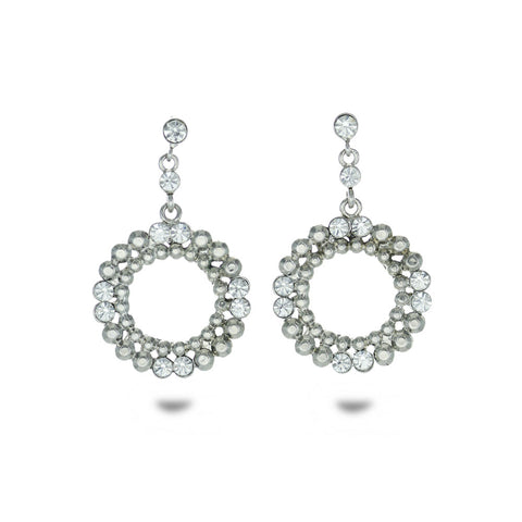 Silver Tone Circle Crystal Drop Earrings