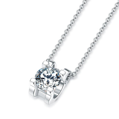 Normandie Moissanite Solitaire Necklace in 925 Sterling Silver
