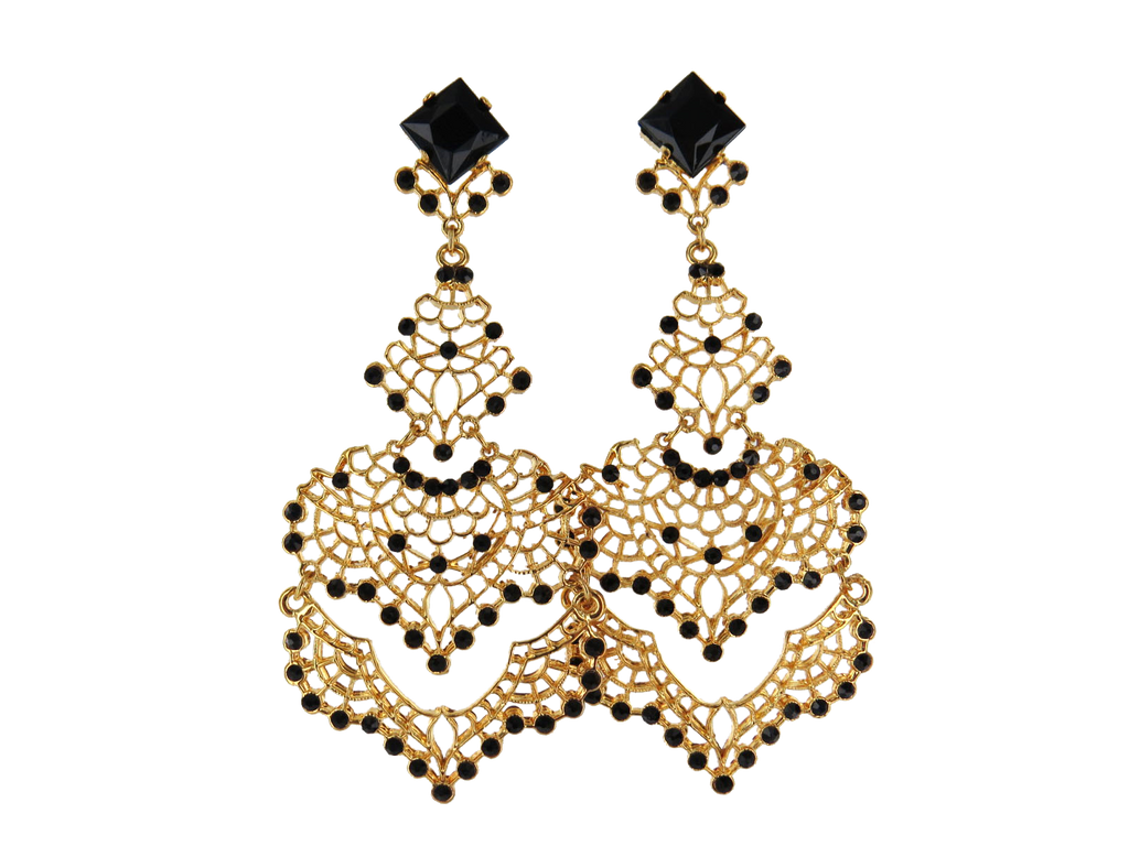 Ornate Filigree Gold Chandelier Earrings