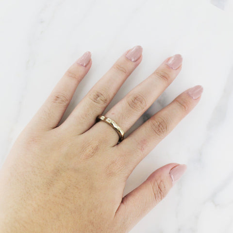 Gold Floral Wave Ring