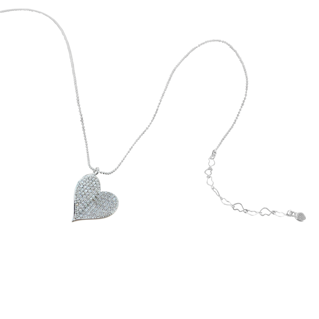 Beautiful Butterfly Heart Necklace - White Gold