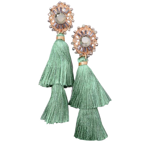 Jewel Floral Tassel Dangle Earrings
